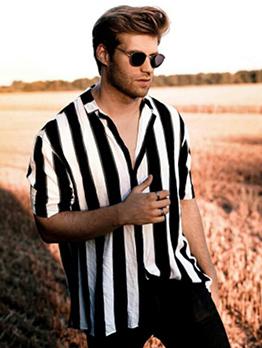 Contrast Color Striped Men Button Down Shirt