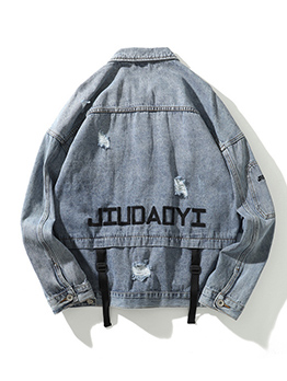 Single-Breasted Ripped Denim Jackets For Men
