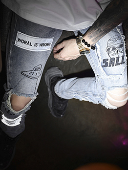 Street Style Letter Printing Ripped Jeans For Men