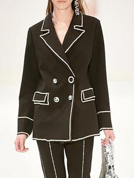 Simple Design Lapel Collar Long Sleeve Boutique Coat