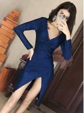 Deep V Neck Long Sleeve Glitter Bodycon Dress