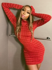 Mock Neck Plaid Long Sleeve Bodycon Dress