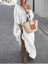 Boat Neck Solid Long Sleeve Maxi Dress