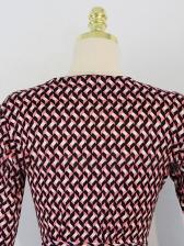 Elegant v Neck Houndstooth Printed Maxi Dresses