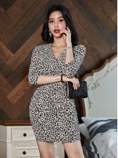 Summer Slim Fit Leopard Knitting Dresses