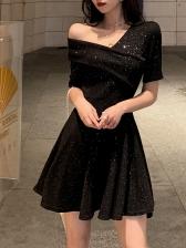 Off Shoulder Glitter Empire Waist Pleated Dresses