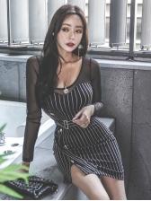 Ol Style Gauze Patchwork Striped Bodycon Dress