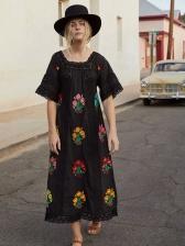 Bohemian Hollow Out Flower Printed Midi Dress