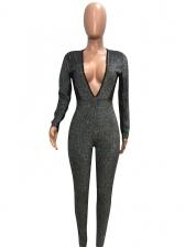 Glitter V Neck Backless Long Sleeve Jumpsuits For Women