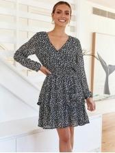 V Neck Smart Waist Printing Long Sleeve Dress