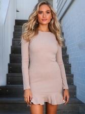Minimalist Flounce Hem Fitted Long Sleeve Dress