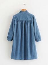 V Neck Long Sleeve Blue Denim Dress