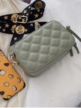 Diamond Pattern Wide Strap Shoulder Bag