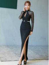Low-Cut Gauze Panel Split Hem Black Maxi Dress