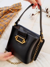 Easy Matching Solid Chain Bucket Bag