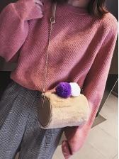 Suede Pom Pom Shoulder Bags For Women