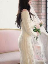 Solid Color Boat Neck Knee Length Knitting Dress