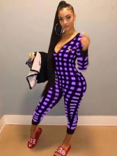 V Neck Long Sleeve Plaid Jumpsuits For Women
