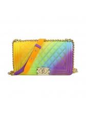 Iridescent Color Hasp Plaid Beautiful Shoulder Bag Large Size