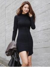 Mock Neck Irregular Hem Black Bodycon Dress