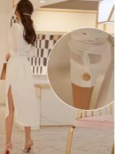 Stand Collar Side Split Long Sleeve Dress With Belt