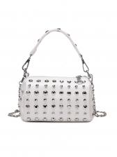 Versatile Rivet Decor Solid Chain Shoulder Bag