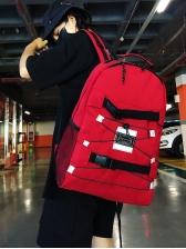 Simple Buckle Design Contrast Color Travel Backpack