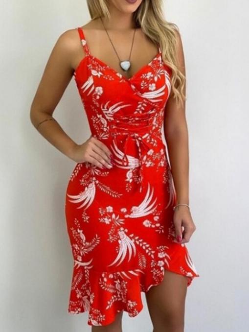 Slim Fit Ruffle Printed Ladies Slip Dress