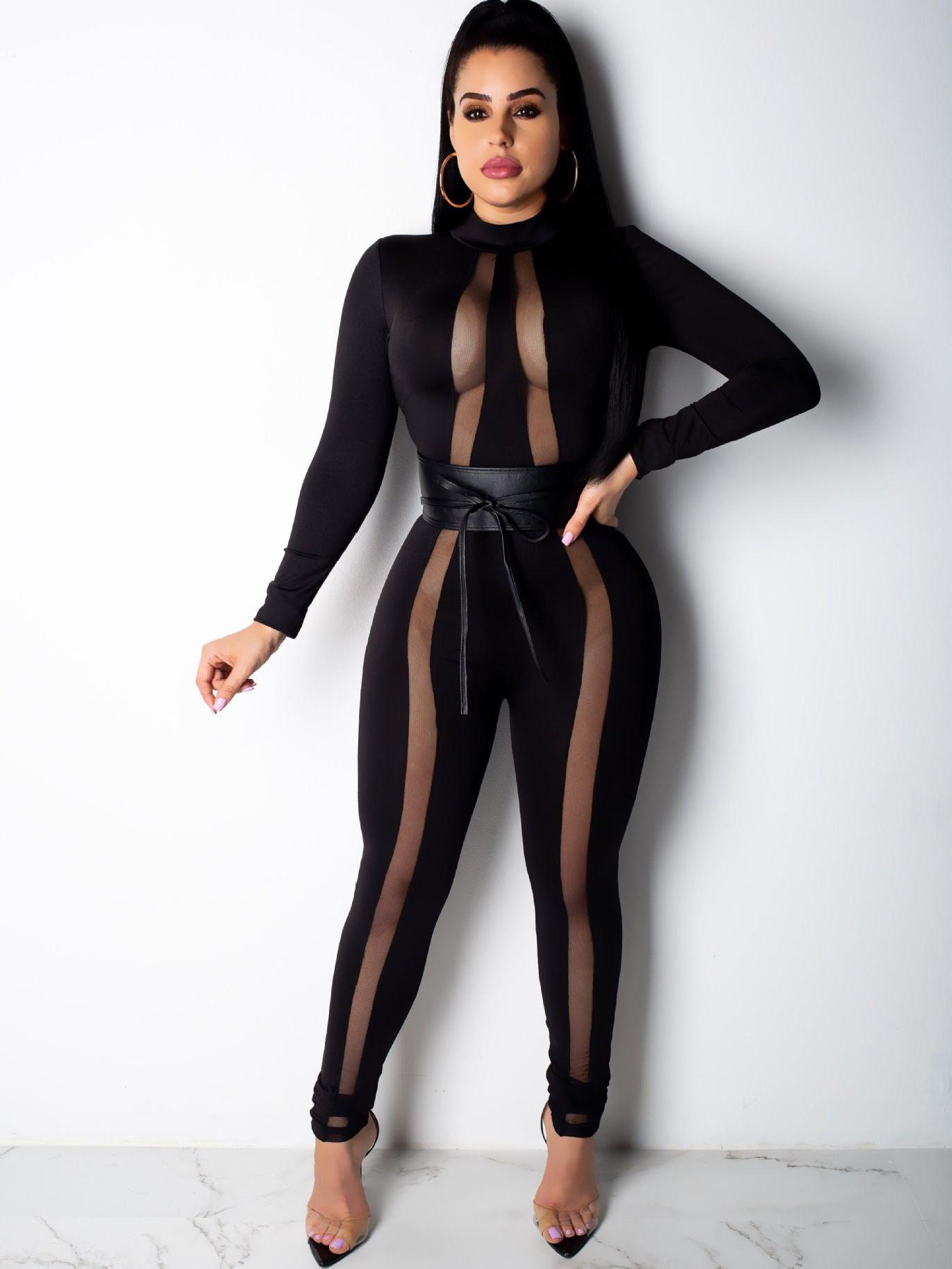 Mock Neck Perspective Sheer Slim Black Jumpsuit