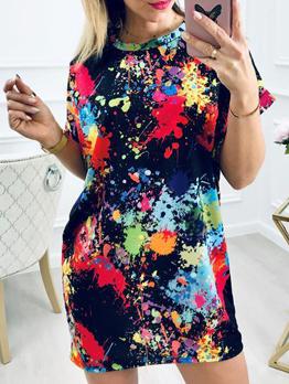 Ink-Splashing Printing Casual T-Shirt Dress