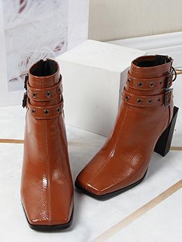 PU Square Toe Chunky High Heel Boot