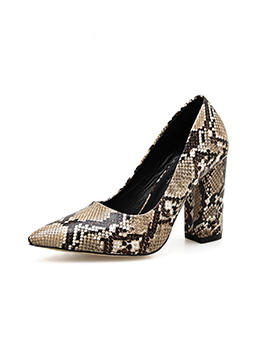 Snake Printed Pointed Toe Slip On Heels