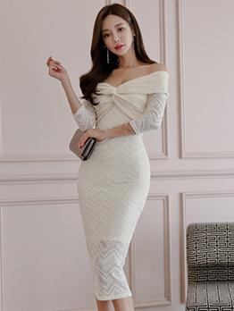 Lace Off Shoulder Bodycon Midi Dresses