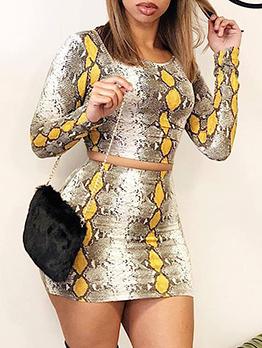 Snake Printed Skinny Crop Two Piece Skirt Set