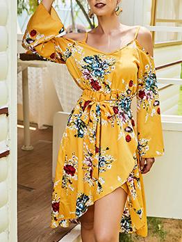 Chic Shoulder Cut Long Sleeve Printed Dresses