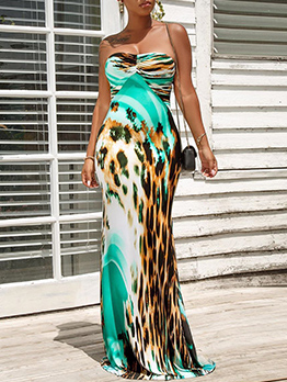 Mixed Color Printed Backless Strapless Maxi Dresses