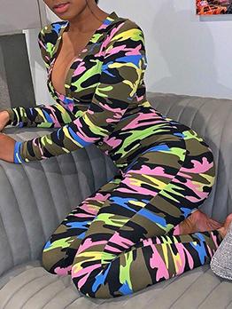 Camouflage V Neck Long Sleeve Jumpsuit