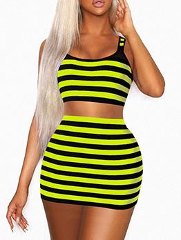 Contrast Color Striped Crop 2 Piece Skirt Set