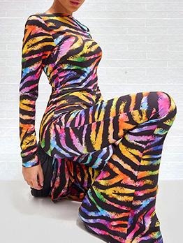 Fashion Contrast Color Long Sleeve Wide Leg Jumpsuit