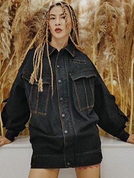 Solid Big Pocket Long Sleeve Loose Denim Coat