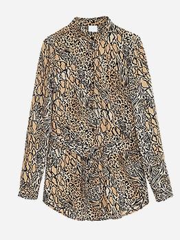 Leopard Printed Turndown Collar Womens Blouses