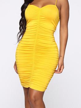 Sexy Draped Spaghetti Strap Yellow Ladies Dress
