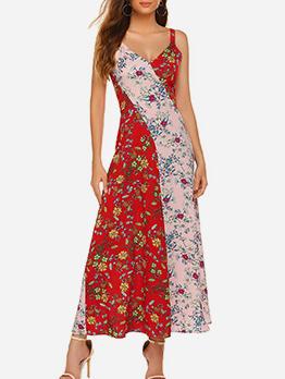 Hot Sale V Neck Contrast Color Floral Maxi Dress