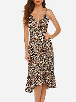 V Neck Leopard Printed Sleeveless Ladies Dress