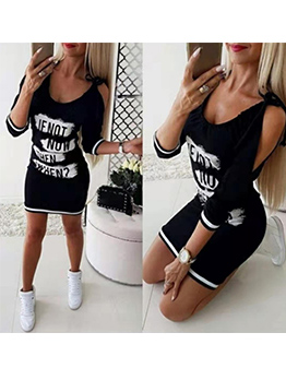 Off Shoulder Letter Casual Dress For Women