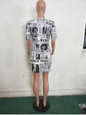 Crew Neck Newspaper Printed Short Sleeve Dress