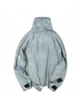 Turtle Neck Two Pockets Zipper Up Denim Outerwear