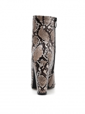 Snake Printed Pointed Toe Chunky High Heel Boots