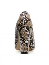 Snake Printed Pointed Toe Slip On Heels