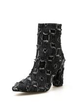 Denim Patchwork Chunky High Heel Boots